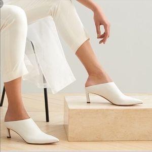 Stuart Weitzman White Leather Camila Mules heels